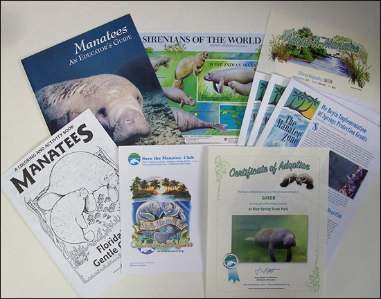 Adopt-A-Manatee materials for school class and groups.